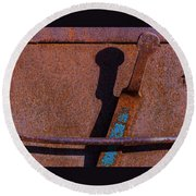 Round Beach Towel featuring the photograph A Rusted Development II by Paul Wear