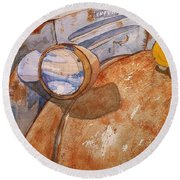 A Rusty Old Chevy Round Beach Towel