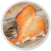 Round Beach Towel featuring the painting A Safe Place by Veronica Minozzi