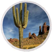 Round Beach Towel featuring the photograph A Saguaro In Spring by James Eddy