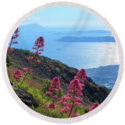 A Scenic View From Mount Vesuvius Round Beach Towel