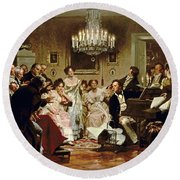 A Schubert Evening In A Vienna Salon Round Beach Towel