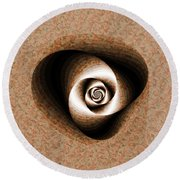 Round Beach Towel featuring the digital art a Sculpt Rose by Richard Ortolano