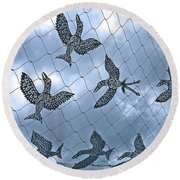 A Sculptural Flock No. 103-1 Round Beach Towel by Sandy Taylor