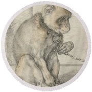 A Seated Monkey On A Chain Round Beach Towel