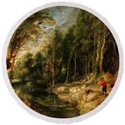 A Shepherd With His Flock In A Woody Landscape Round Beach Towel