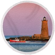 A Ship Passes The Super Moon And Whaleback Round Beach Towel