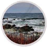 Round Beach Towel featuring the photograph A Shoreline In New England by Tom Prendergast