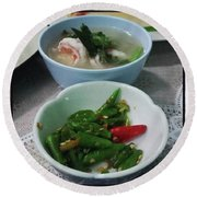 Round Beach Towel featuring the photograph A Side Of Tom Yum Goon With Your by Mr Photojimsf