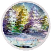 A Silent Night Round Beach Towel by Mindy Newman