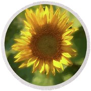 A Single Sunflower Showing It's Beautiful Yellow Color Round Beach Towel