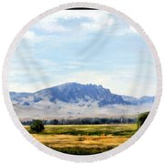 Round Beach Towel featuring the painting A Sleeping Giant by Susan Kinney