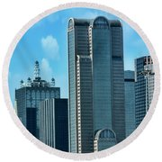 Round Beach Towel featuring the photograph A Slice Of Dallas by Joan Bertucci