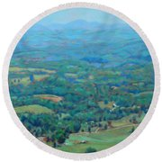 A Slow Summer's Day- View From Roanoke Mountain Round Beach Towel by Bonnie Mason