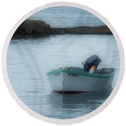 Round Beach Towel featuring the photograph A Small Boat In Casco Bay by Guy Whiteley