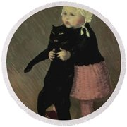 A Small Girl With A Cat Round Beach Towel