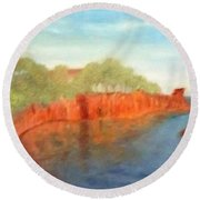 A Small Inlet Bay With Red Orange Rocks Round Beach Towel