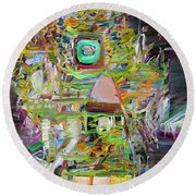 Round Beach Towel featuring the painting A Small Portion Of Herself by Fabrizio Cassetta