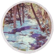 A Small Stream Meandering Through Winter Landscape. Round Beach Towel