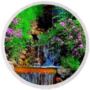 A Small Waterfall In Hbg Sweden Round Beach Towel