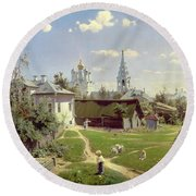 A Small Yard In Moscow Round Beach Towel by Vasilij Dmitrievich Polenov