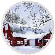 A Snowy Day At Grey Ledge Farm Round Beach Towel by Betty Denise
