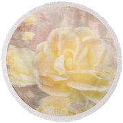 A Softer Rose Round Beach Towel by Victoria Harrington