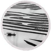 A Solitary Boatman. Round Beach Towel