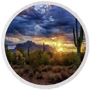 Round Beach Towel featuring the photograph A Sonoran Desert Sunrise - Square by Saija Lehtonen