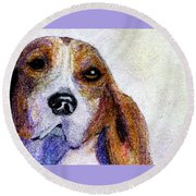 A Soulful Hound Round Beach Towel