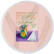 A Spanish Jar And A Fan Round Beach Towel by Tamara Savchenko