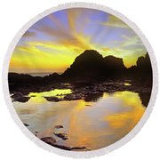 Round Beach Towel featuring the photograph A Splatter Paint Sunset by Tara Turner