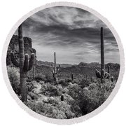 Round Beach Towel featuring the photograph A Morning Hike In The Superstition In Black And White  by Saija Lehtonen