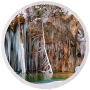 A Spring That Knows No Summer. - Hanging Lake Print Round Beach Towel