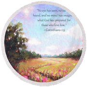 A Spring To Remember With Bible Verse Round Beach Towel