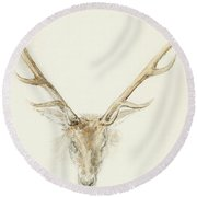 A Stag Shot By John Brown Round Beach Towel
