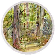 A Stand Of Trees Round Beach Towel