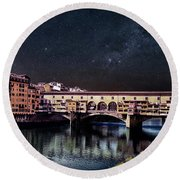 A Starry Starry Night In Florence, Italy Round Beach Towel