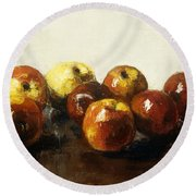 A Still Life Of Apples Round Beach Towel by Lesser Ury
