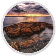 A Storm Is Brewing Round Beach Towel