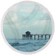 A Storm's Brewing Round Beach Towel