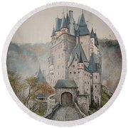 A Story At Eltz Castle Round Beach Towel