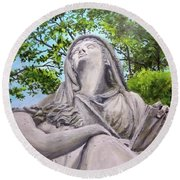 Round Beach Towel featuring the painting A Story Told by William Brody