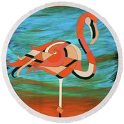 A Straight Up Flamingo Round Beach Towel