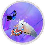 A Strange Butterfly Dream Round Beach Towel by Kim Pate