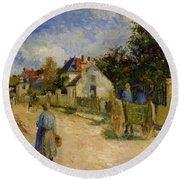 A Street In Pontoise 1879 Round Beach Towel