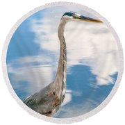 Round Beach Towel featuring the photograph A Stroll Among The Clouds by Christopher Holmes