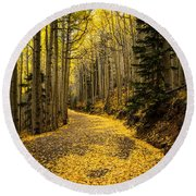 A Stroll Among The Golden Aspens  Round Beach Towel