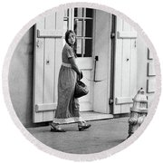 Round Beach Towel featuring the photograph A Stroll In The French Quarter by KG Thienemann
