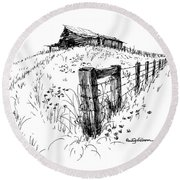 A Strong Fence And Weak Barn Round Beach Towel